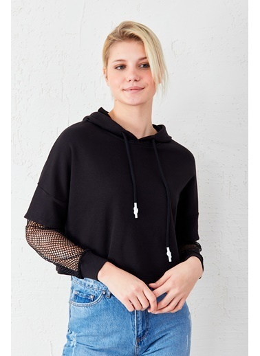 EKA Kolu Fileli Sweatshirt Siyah